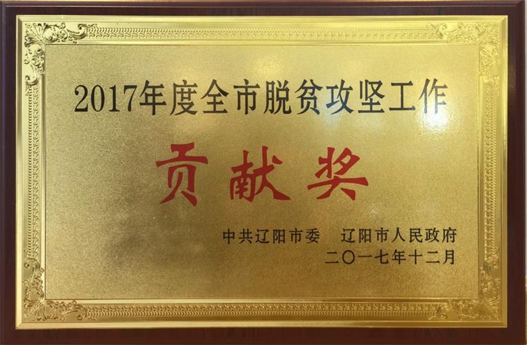 辽联信息荣获2017年度全市脱贫攻坚工作贡献奖